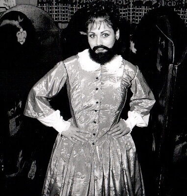Bearded lady in an Elizabethan dress